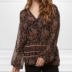 Dex pattern long sleeve front tie sheer blouse L